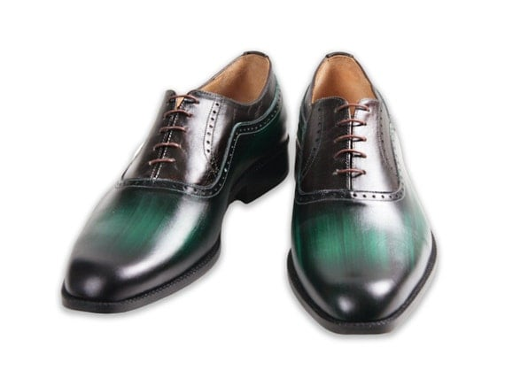 Leather man shoes, wooden, green, Oxford, hand painted (made in Italy)