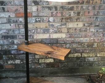 floor lamp, pipe lamp, side table, wood and pipe lamp, steampunk lamp, rustic lamp.