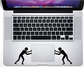 Push Touchpad Decal , 2pcs Laptop Stickers , Macbook Laptop Keyboard Sticker Vinyl Decor, Pushing Man , Removable Wallpaper, Holiday Gift