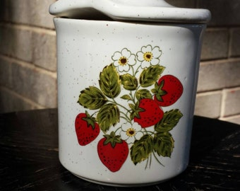 Vintage 1970s Strawberry Ceramic Blossoms Jelly Jar or Sugar Bowl