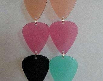 Handmade Guitar Pick Earrings Upcycled