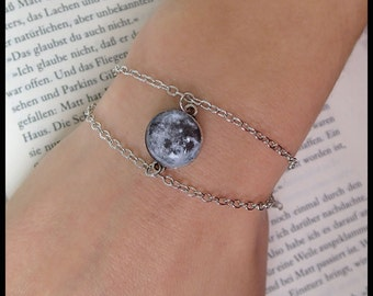 Moon bracelet full moon galaxy silver pendant glass cabochon jewelry chain