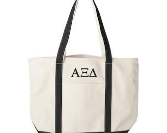 Alpha Xi Delta Large Canvas Tote Bag,  Alpha Xi Delta Beach Bag, Alpha Xi Delta College Book Bag, Alpha Xi Delta Tote