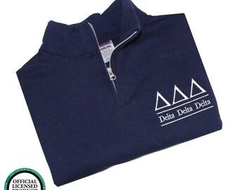 Delta Delta Delta Quarter Zip Pullover,  Tri Delta cadet fleece pullover, Delta Delta Delta Sorority Letters, Tri Delt fleece sweatshirt