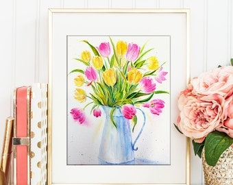 Watercolor Painting Vase of Tulips, yellow and pink tulips printable, digital print for Instant Download, printable