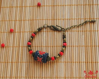 Bohemian bracelet gemstone bracelet embroidered jewelry gift for her gifts for sister Serpentine jewelry red gray bracelet unusual jewelry