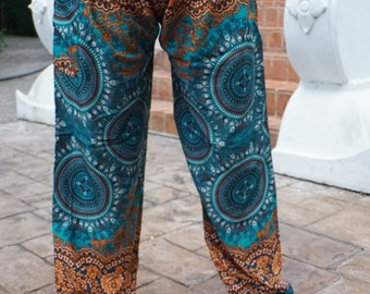 Hippie pants hobo pants harem pants cozy pants green and orange