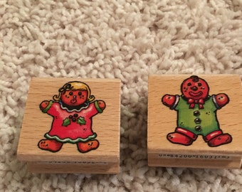 Gingerbread boy and girl stamp