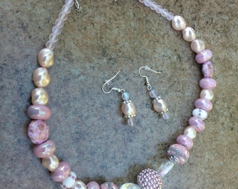 Pink Mixed Media Necklace and Earrings
