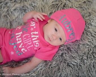 Hot pink newborn hat...newborn baby hat...personalized newborn hat...new baby hat...baby girl hat...take home hat...newborn photo prop hat
