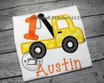 Boy's Tow Truck Applique Birthday Shirt/ Tow Truck Applique Birthday Shirt/ Tow Truck Birthday Shirt