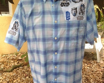 Star Wars Shirt- Star Wars R2D2 Shirt- Star Wars Men's Gift- R2D2 Shirt- Size Medium- Sale 30.00