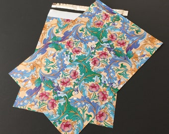 100 10x13 Designer Poly Mailers Flowers Paisley Blue Pink Envelopes Shipping Bags