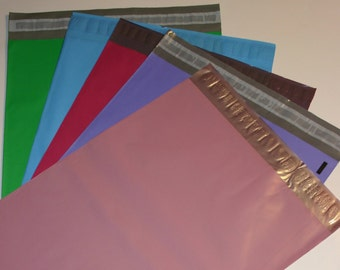 50 12x15.5 Poly Mailers  Raspberry Pastel Purple Pale Pink Blue Green 10 Each Self Sealing Envelopes Shipping Bags Spring Easter