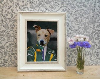 Racing Driver Dog Framed Pet Portrait Print