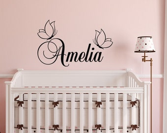 Girl Name Wall Decal- Butterfly Wall Decal - Personalized Name Wall Decal Stickers Girls Bedroom Decor- Wall Decals Nursery Decor Girl 138