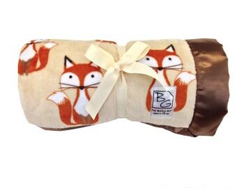 Foxes Stroller Blanket Brown/Gold/Rust