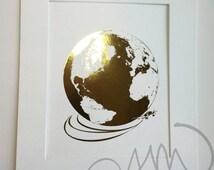 Airplane Around The World Shiny Gold Metallic Globe Print