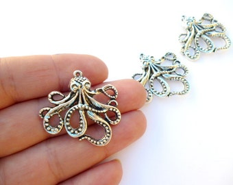 Silver Tone Octopus Charm Pendant_PP1554822146_Steampunk Octopus Charm pendant_of 30 mm_pack 10 pcs