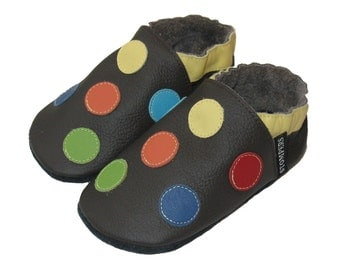 Choc Spotty Baby Shoes, Toddler Boy Shoes, Baby Spotty Shoes, Leather Baby Shoes, Baby girl Shoes, Boys Soft Sole Shoes, Handmade Australia