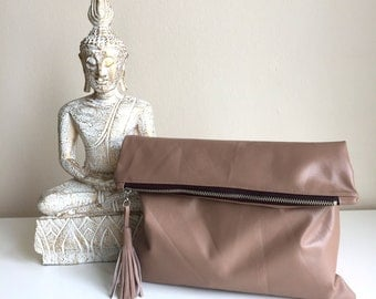 Brown Leather Fold Over Clutch,Brown Leather Bag,Brown Leather Clutch,Leather Clutch Bag,Brown Boho Leather Bag,Boho Genuine Leather Clutch