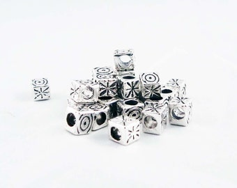 ISP73 - 5 beads cubic star snowflake Sun silver stripes / 5 Pieces Square Stripes Sun Star Oval Spiral Pattern Silver Spacer Beads
