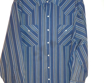 "Vintage 70s/80's cowboy stripped button down shirt hippie grunge ""Plains Western Wear"" men's size large"