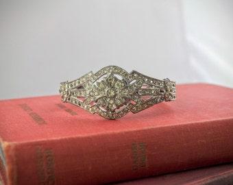 Vintage Rhinestone Clamper Bracelet - Art Deco Silver Tone Hinged Bracelet - Retro Diamante Jewelry - Sparkly Pave Cuff - Bridal Bracelet