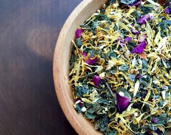 SPRINGTIME organic herbal tea blend • clarifying spring tonic • light and cleansing • great for spring cleaning the body • 8oz tin