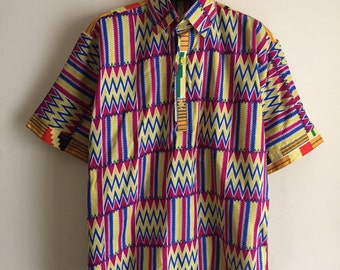 Vintage Multicolor African Tribal Kente Half Button Sown Short Sleeve Shirt