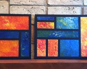 Orange & Blue Grid #1 and #2