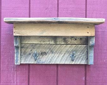 Reclaimed Wood Shelf with Hooks