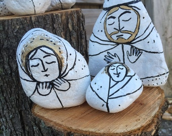 Handpainted Rock Nativity