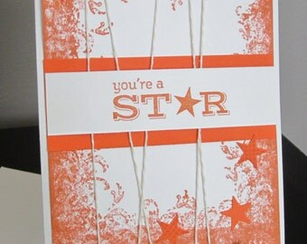 Congratulations Card, Orange Card, You're a Star, Handmade Card