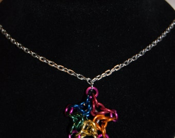 Rainbow Chainmail Star Necklace
