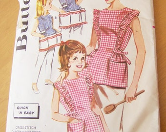 Vintage 1970s Sewing Pattern Butterick 2518 Mother/Daughter Matching Aprons