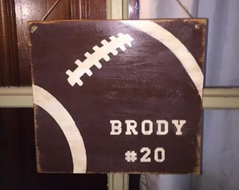 Personalized football hanging sign