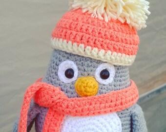 Crochet penguin, amigurumi penguin, stuffed penguin doll, knit penguin toy