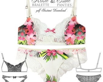 DIGITAL Lingerie Sewing Pattern - Esme Panties & Rosie Bra - pdf instant download from EVIE la LUVE