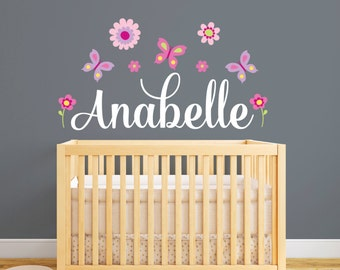 Personalized Name Wall Decal   Flower Wall Decal   Girl Wall Decal   Nursery  Wall Decal Part 77