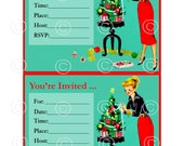 1950's Super Retro Christmas Invitation Featuring A Lady Decorating a Miniature Tree *** Instant Digital Download ONE image ***