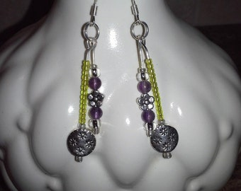 Lime Green Dangle Earrings with Silver Plated Flowers and Amethyst Gemstones