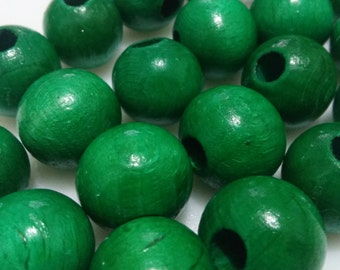 10x Round Green 16mm Wooden Beads - Wood Beads, Eco Friendly woods beads, Round Wooden Beads, DIY Craft FLAT RATE Shipping