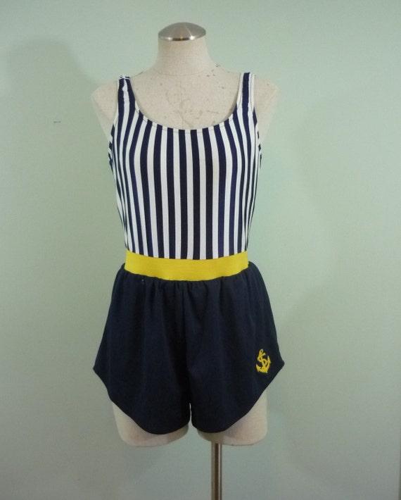 Mid Century Nautical Swimsuit / Sixties Sailor Swimwear / One Piece, Scoop Back, Short Playsuit / Anchor Applique / Modern Size Medium M