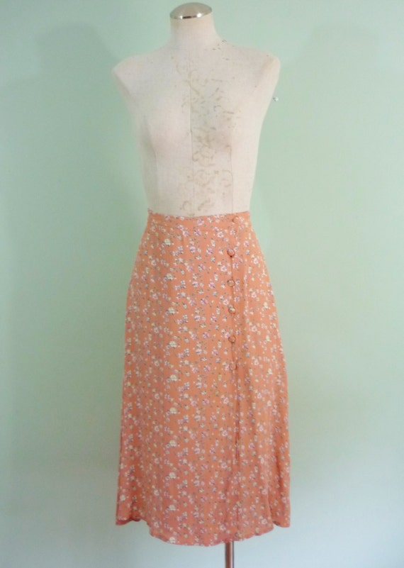 1980s does 1940s Midi / Dusty Pink Floral Skirt / A-Line with Asymmetrical Covered Button Closure / Modern Size Medium M, 8-10