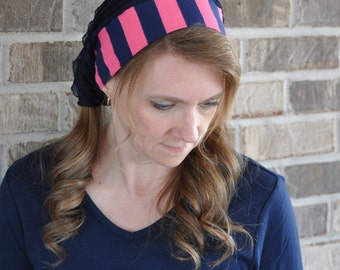 Women's Pink Navy Stripe Head Covering, headcovering, headscarf, head scarf, hairscarf, hair scarf, bandana, veil mitpachat half head tichel
