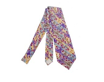 Vintage 80s Tie - Missoni Tie - Vintage Missoni - 80s Missoni Tie - 80s Silk Tie - Purple Blue Pink Gray - Missoni Necktie - 80s Missoni