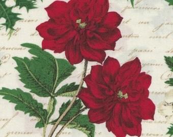 Joyeux Noel - Per Yd  - Studio e - Poinsettias and Holly