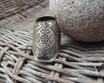 Men silver ring, brass boho ring silver plated for men, silver ring for men, silver men ring, adjustable size ring, silver ring.