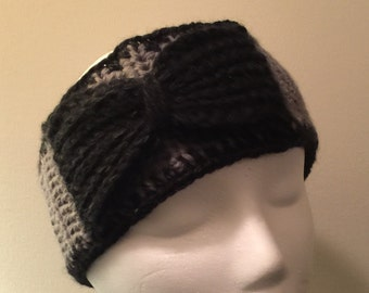 """Headband """"Gray with Black Bow"""""""